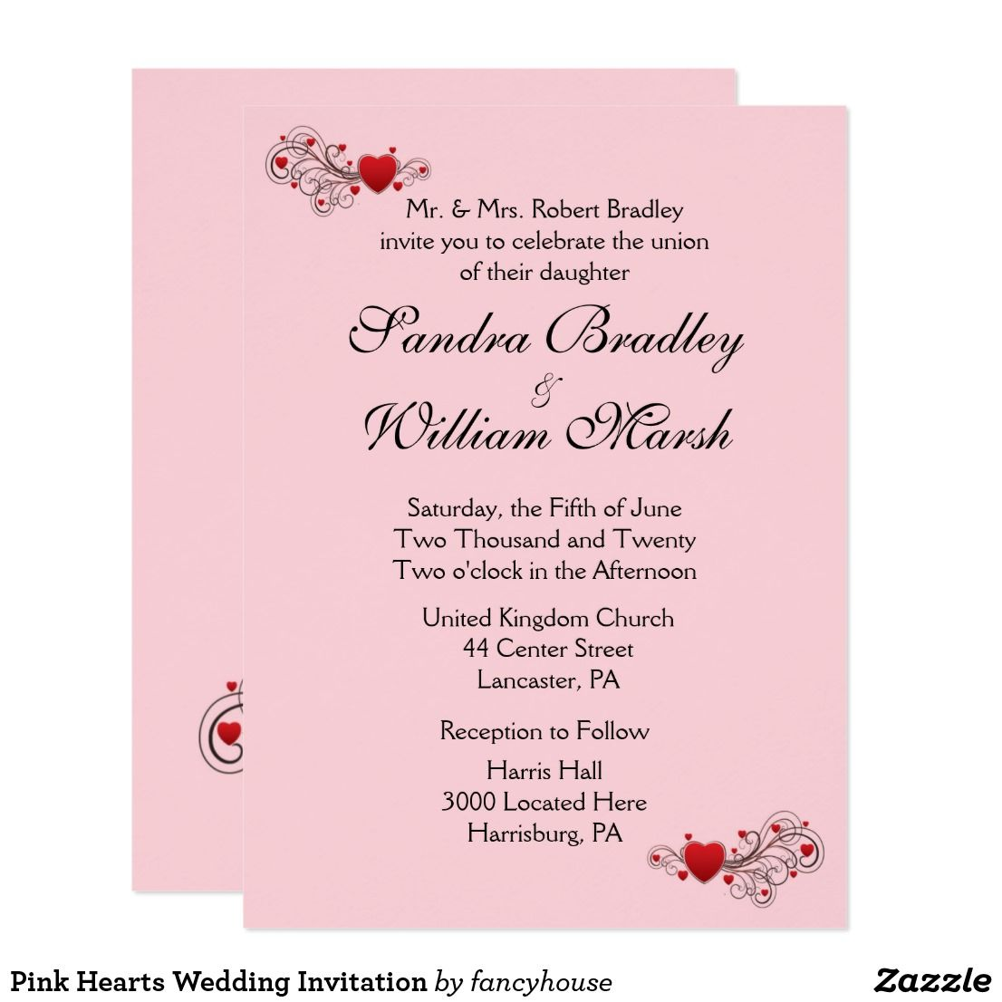 Pink Hearts Wedding Invitation | Heart wedding invitations and ...