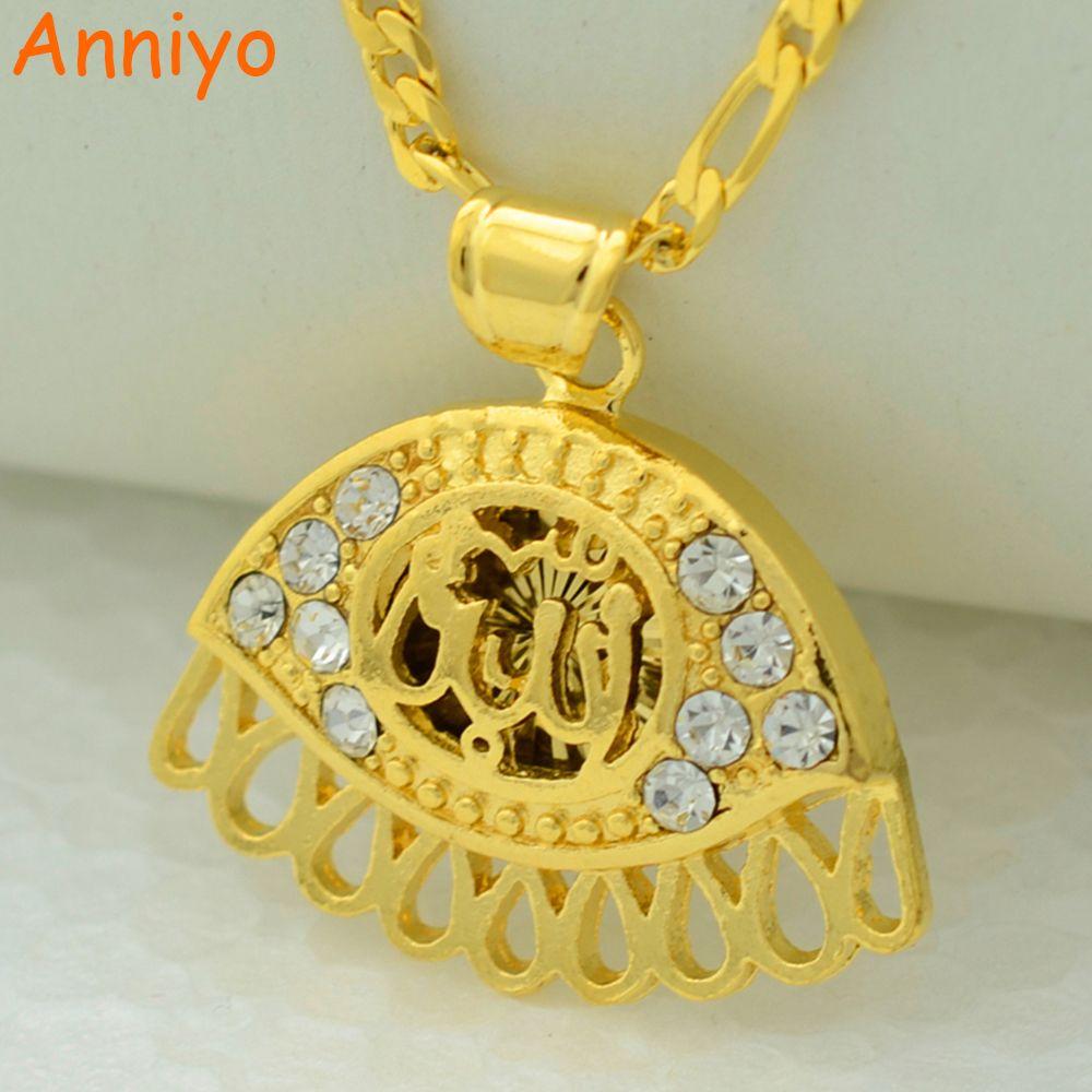 Anniyo allaheye jewelry rhinestone women islamic pendant necklace anniyo allaheye jewelry rhinestone women islamic pendant necklace chain arab mens gold color middle aloadofball Images