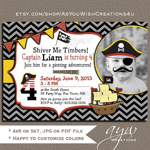 Pirate 1st Birthday Party Invitation 2nd 3rd Invitations Printable Invites 4th