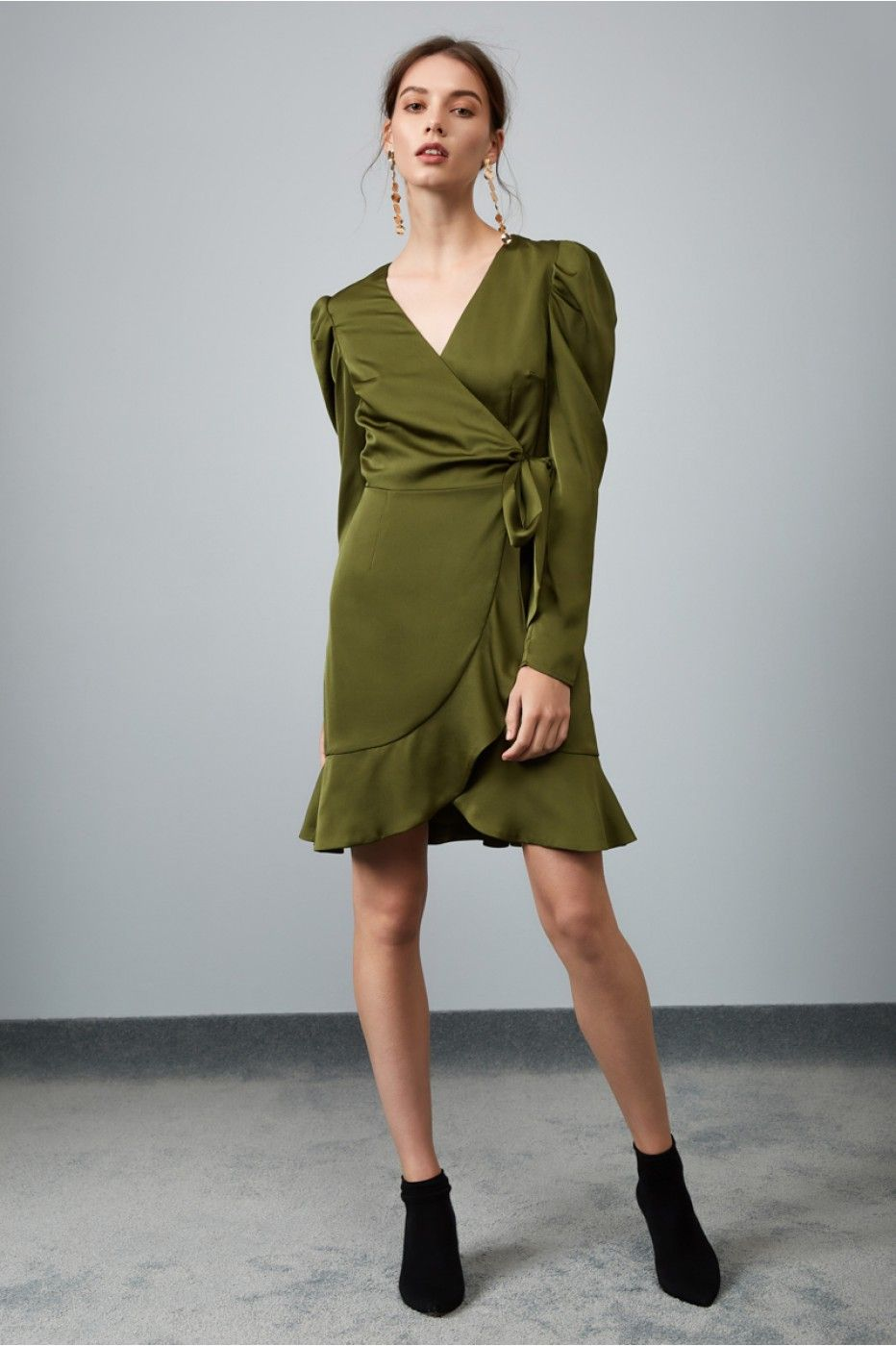 a91abfa6f3c0 THIS MOMENT LONG SLEEVE WRAP DRESS olive