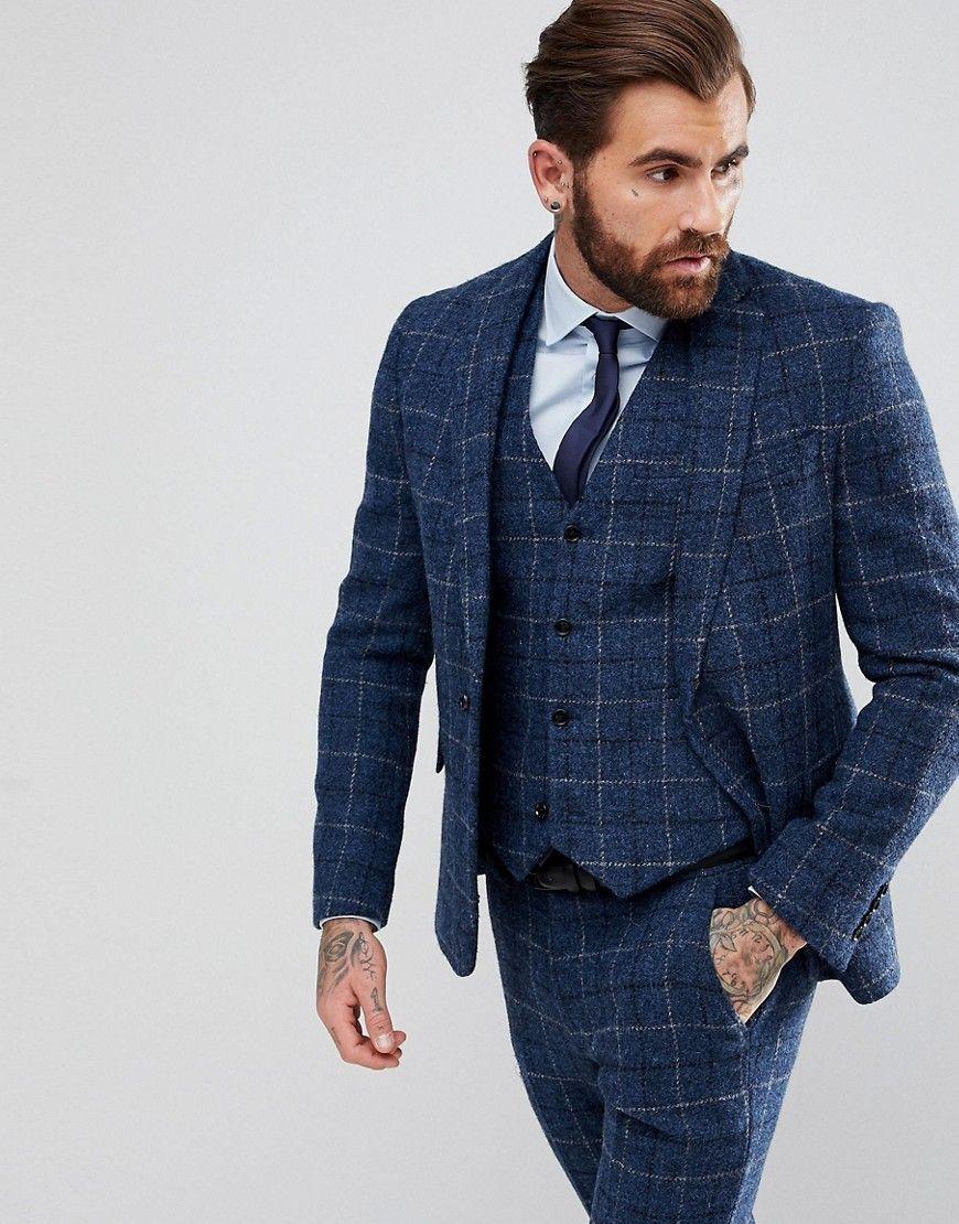 a8fa4376ed33 ASOS Slim Suit Jacket in 100% Wool Harris Tweed In Blue Check - Blue