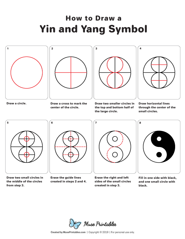 Learn How To Draw A Yin And Yang Symbol Step By Step Free Printable Download At Https Museprintables Com Download How To Yin Yang Art Ying Yang Art Yin Yang