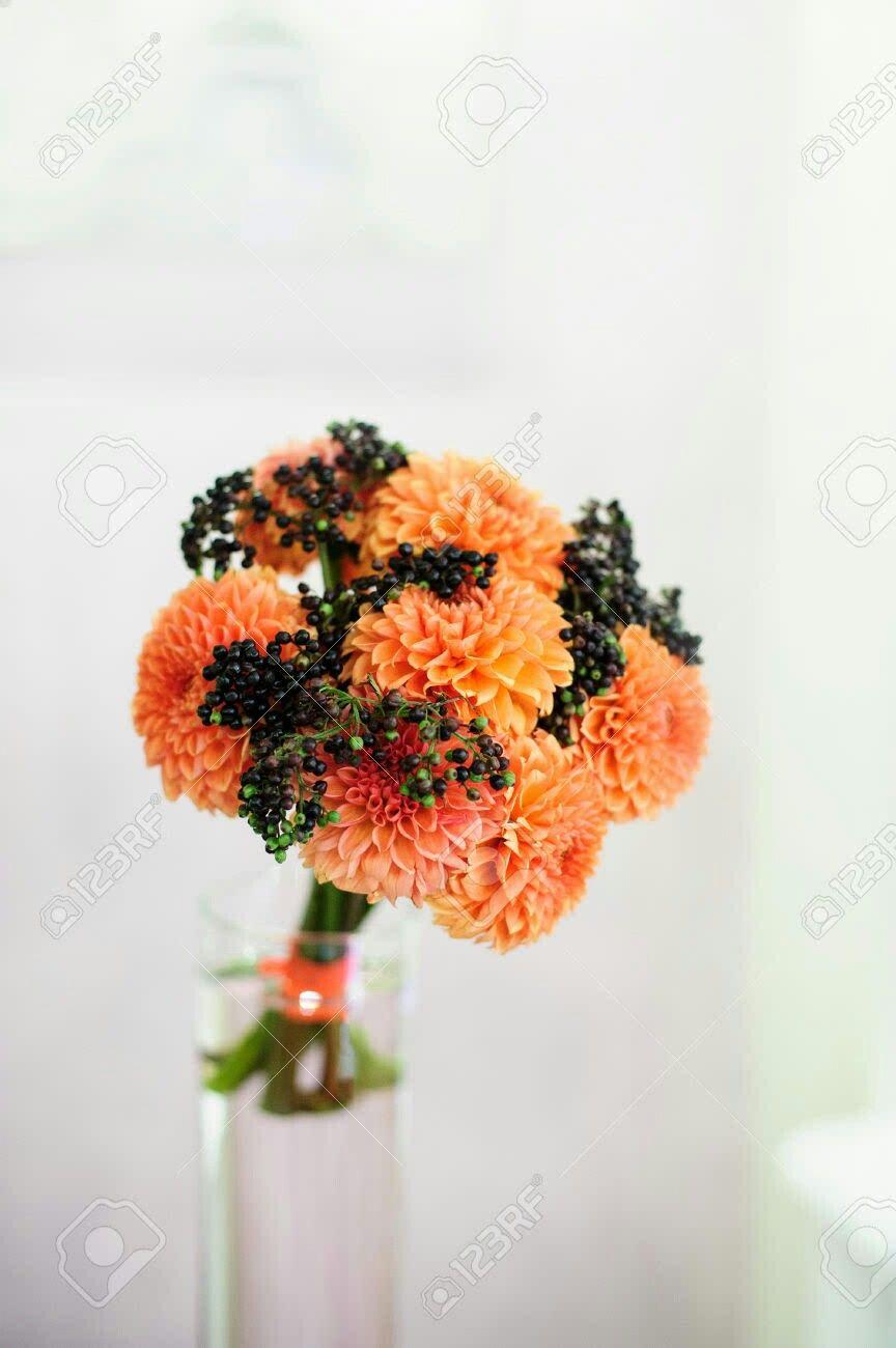 Orange Dahlias, Dark Blue Privet Berries Wedding Bouquet