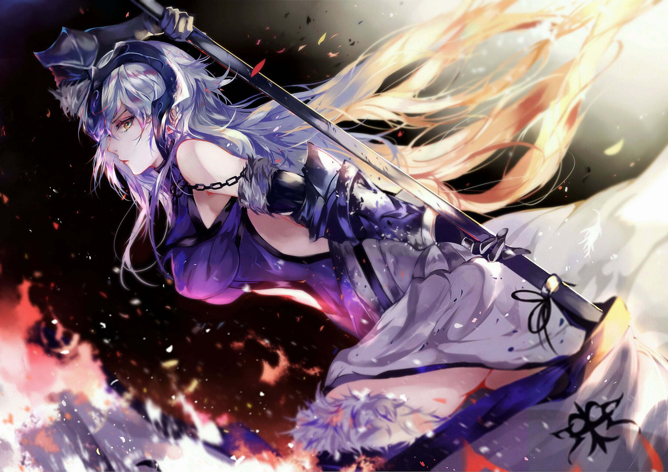Fate Grand Order Jeanne D Arc Alter Weapon Spear Gray Hair Long Hair Elbow Gloves Thigh Highs Fate Series 1 Joan Of Arc Fate Anime Images Fate Anime Series