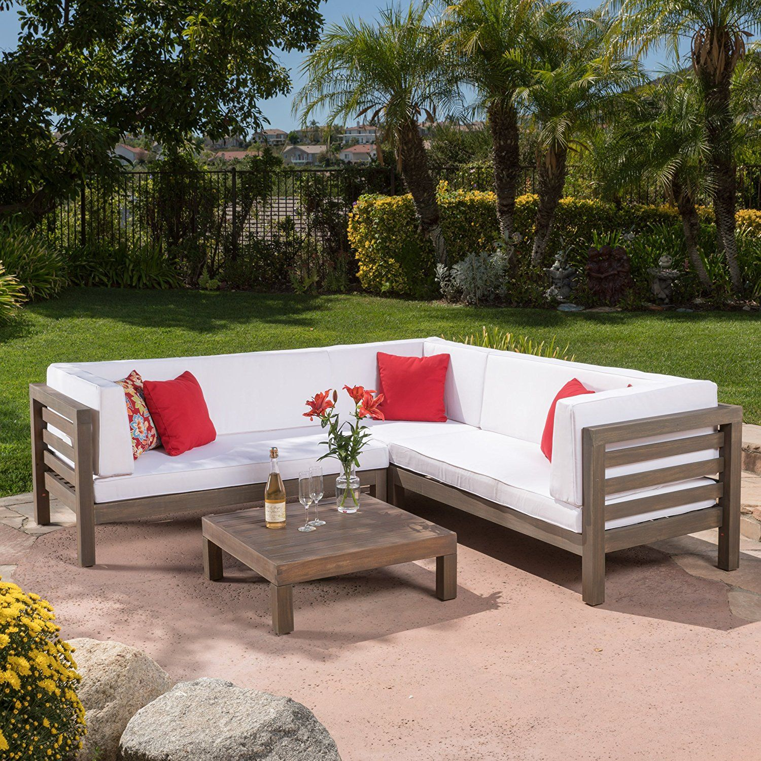 Amazon Com Ravello Outdoor Patio Furniture 4 Piece Wooden Sectional Sofa Set W X2f Water Resistant Outdoor Sectional Patio Sectional Patio Furniture Deals