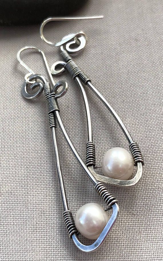 Oxidized Silver Wire Earrings with Pearl/ Pearl earrings/ Long ...