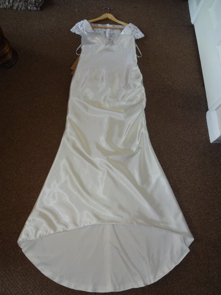 Ivory Satin Wedding Dress With Illusion Back Size 10 12 United Kingdom Gumtree Satin Wedding Dress Satin Wedding Dresses
