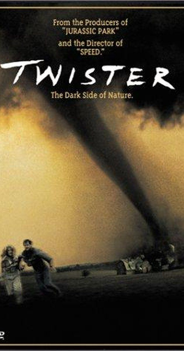 Directed by Jan de Bont.  With Helen Hunt, Bill Paxton, Cary Elwes, Jami Gertz. Bill and Jo Harding, advanced storm chasers on the brink of divorce, must join together to create an advanced weather alert system by putting themselves in the cross-hairs of extremely violent tornadoes.  Twister