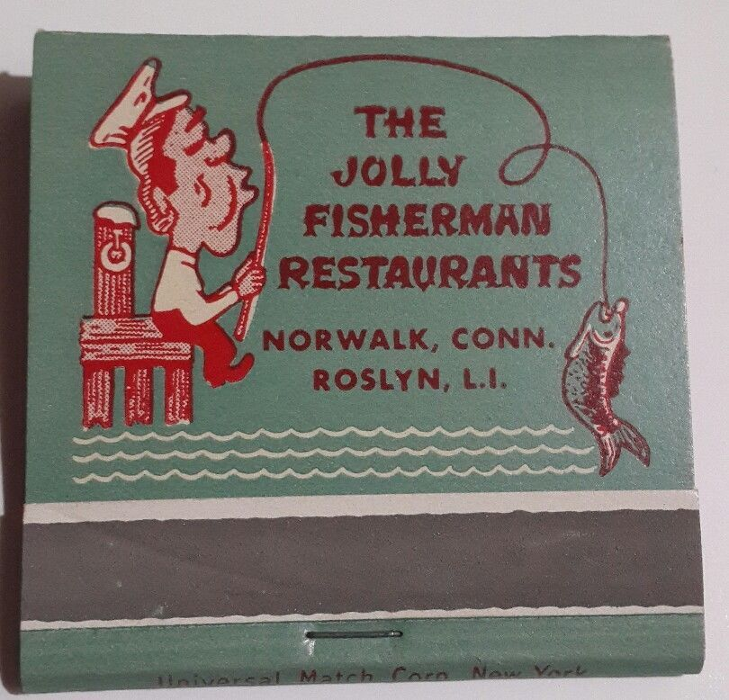 Jolly Fisherman Fs Matchbook Seafood Restaurants Roslyn Li Ny Norwalk Ct 1950s Frontstrikematchbook Restaurant