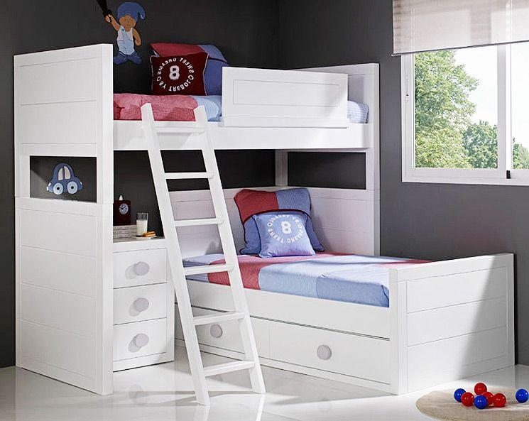 Cucheta en l kidscama pinterest litera dormitorio y - Camas para ninos pequenos ...