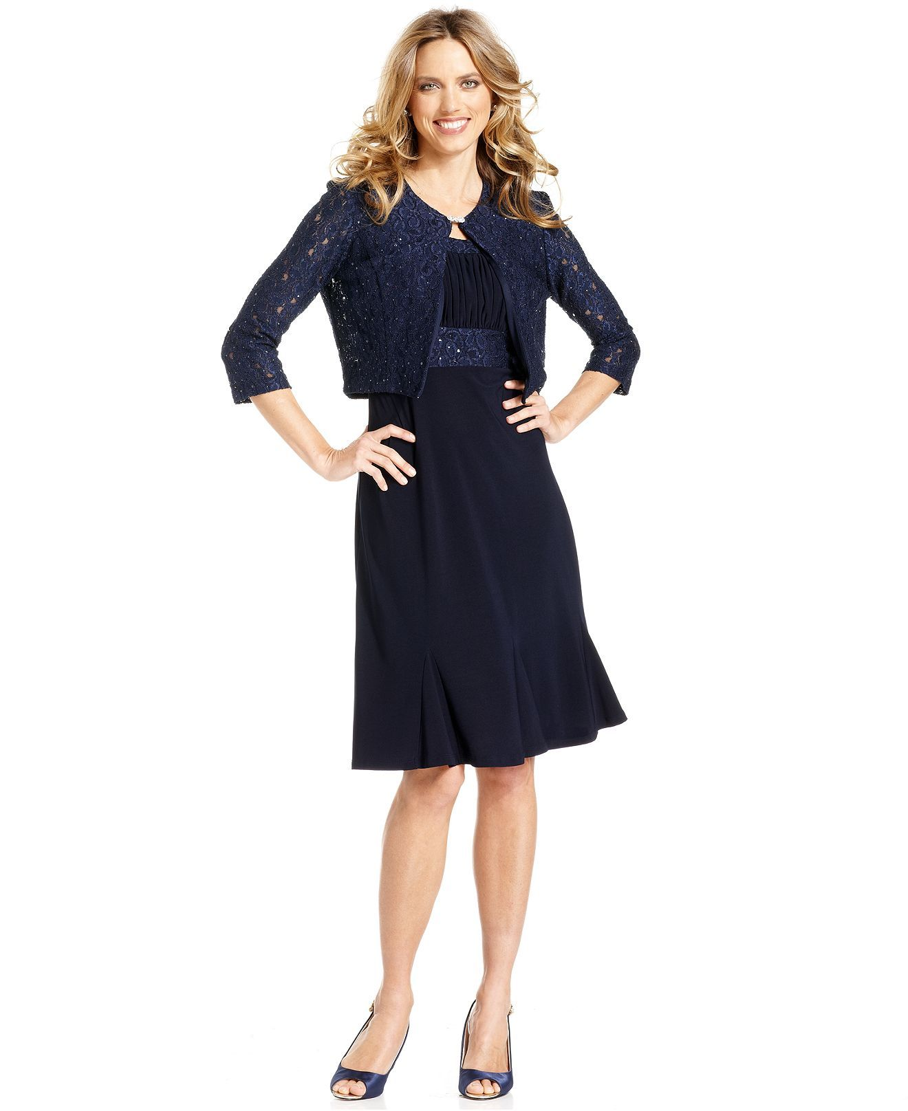 Jessica Howard Dress and Jacket Sleeveless Sequined Lace  Womens
