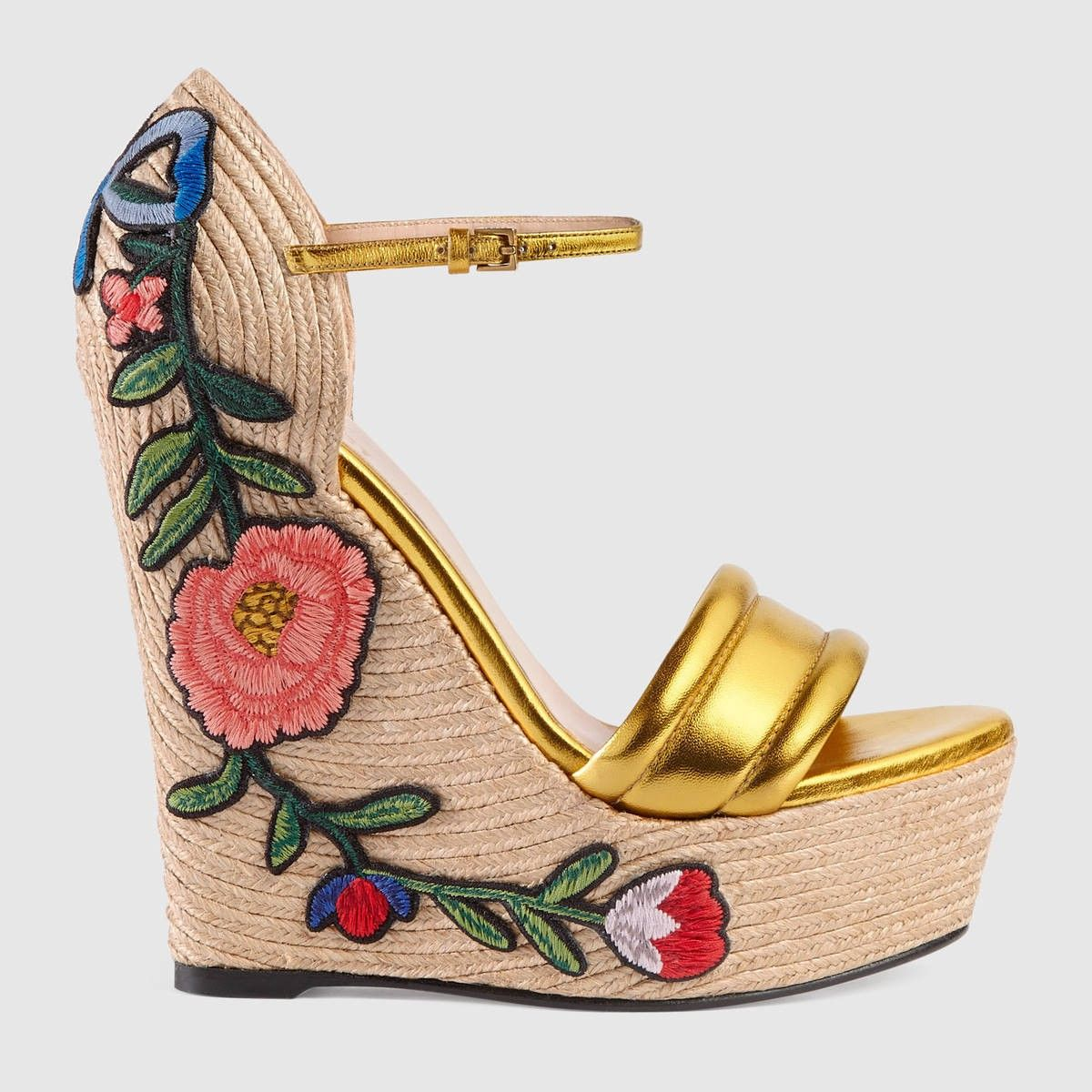 4f239dfd374 GUCCI Embroidered Metallic Leather Platform Espadrille - Metallic Gold  Leather.  gucci  shoes  all