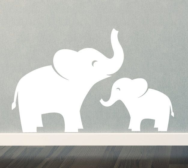 mom & baby elephant wall decal set - jungle safari - children - boy