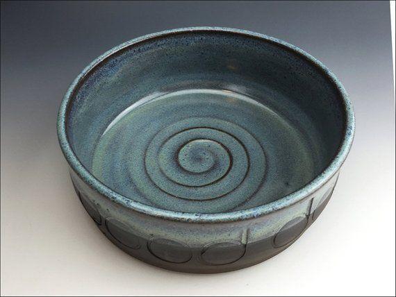 Blue Ceramic Good Dog Food Bowl Heavy Dog Water Bowl Rustic