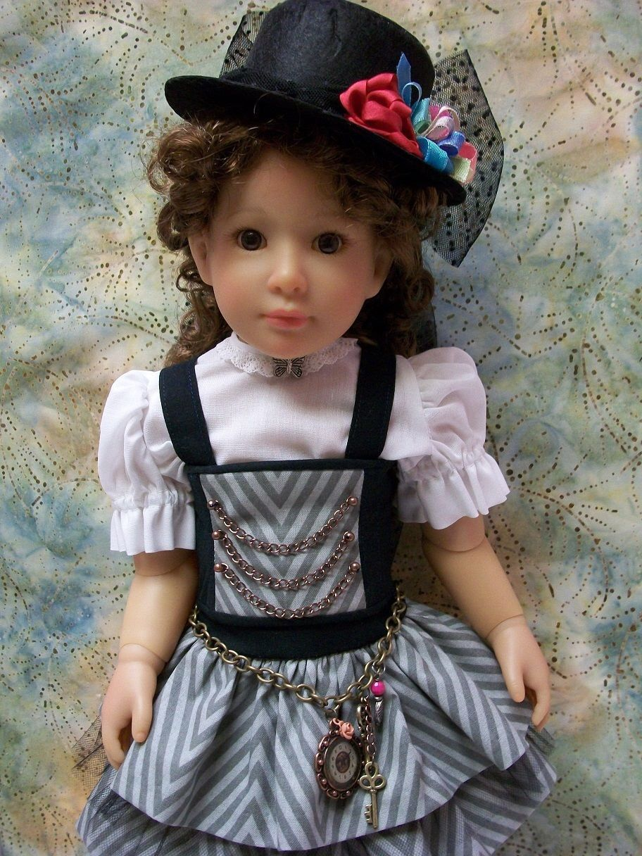 """18"""" Kidz n Cats """"Steampunk""""  6 Piece Outfit, Bustier, Skirt, Blouse, Top Hat + by sewsallday on Etsy https://www.etsy.com/listing/485815177/18-kidz-n-cats-steampunk-6-piece-outfit"""
