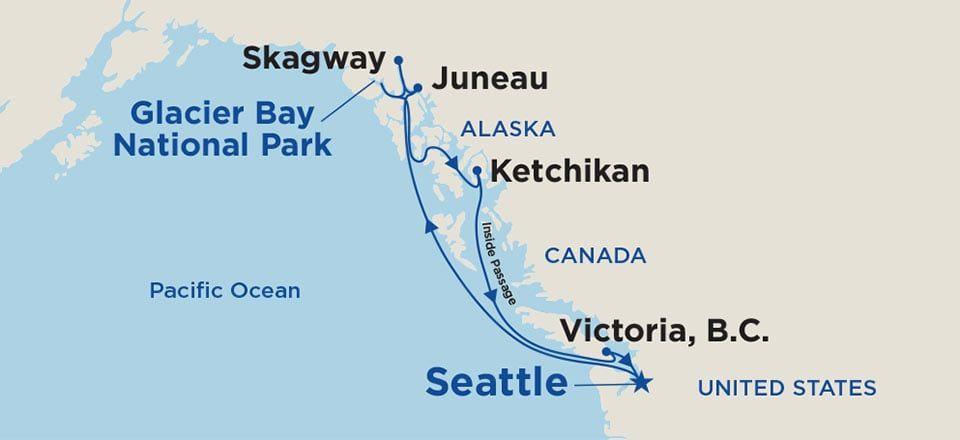 Map of cruise route for round trip seattle cruises - refer ... Map Inside Page Alaska on california map, texas map, pacific map, yukon map, nova scotia map, bc map, hawaiian islands map, north dakota map, north carolina map, aleutian islands map, colorado map, florida map, arizona map, anchorage map, kodiak island map, inside passage map, russia map, arkansas map, canada map, idaho map,