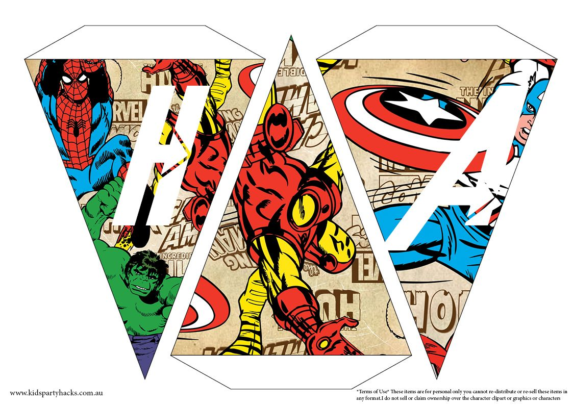Free Printable Avengers Happy Birthday Bunting From Kids Party