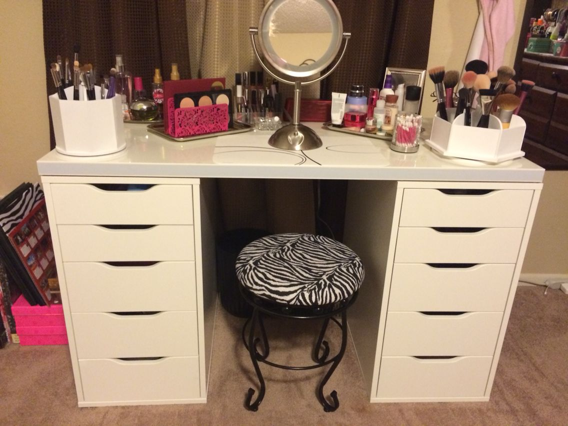 My makeup vanity from ikea stool from home goods have it my makeup vanity from ikea stool from home goods geotapseo Images