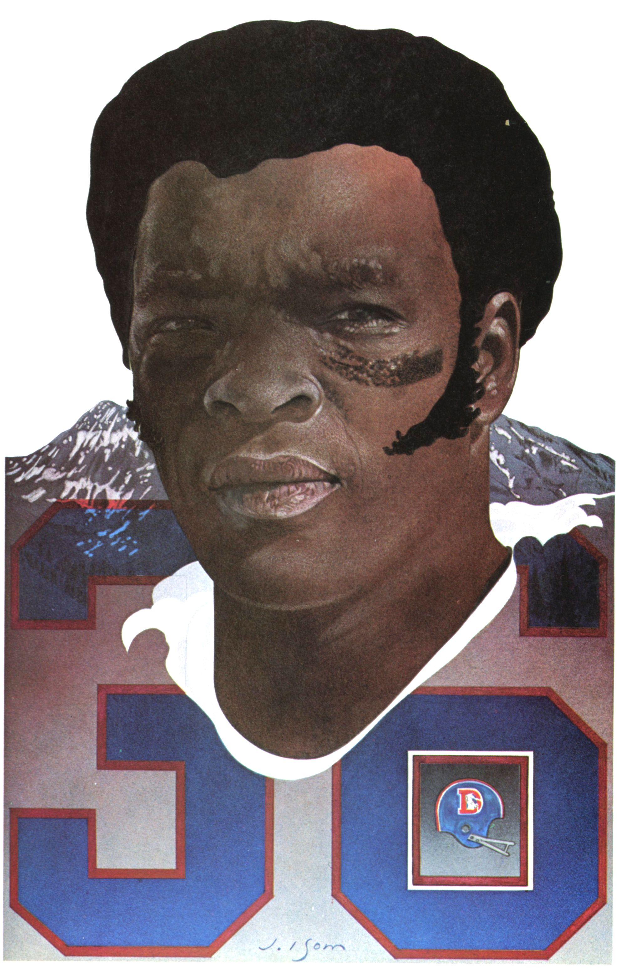 Bill Thompson, Denver Broncos Safety. Portrait by Joe Isom 1978.