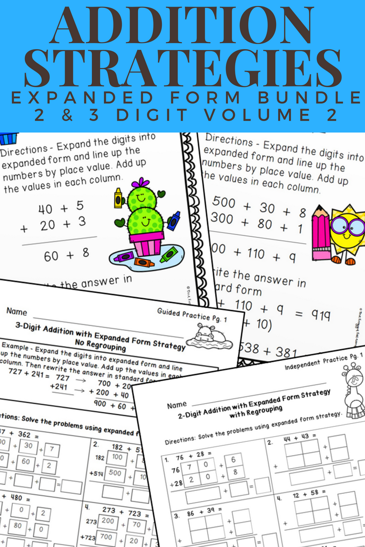 Addition Strategies Worksheets - Expanded Form Bundle Volume 2