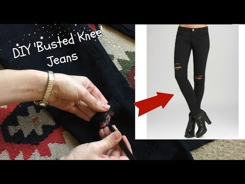 DIY 'Busted Knee' or Ripped Jeans Tutorial YouTube | Diy