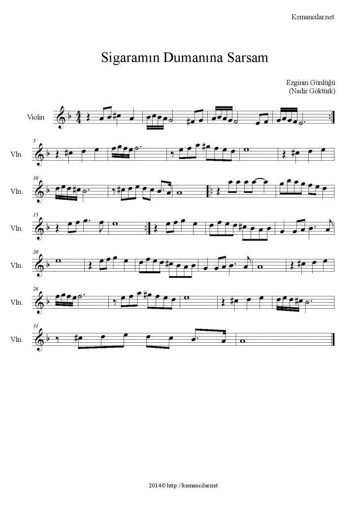 Sigaramin Dumanina Sarsam Keman Notalari Keman Muzik Notalari Notalara Dokulmus Muzik