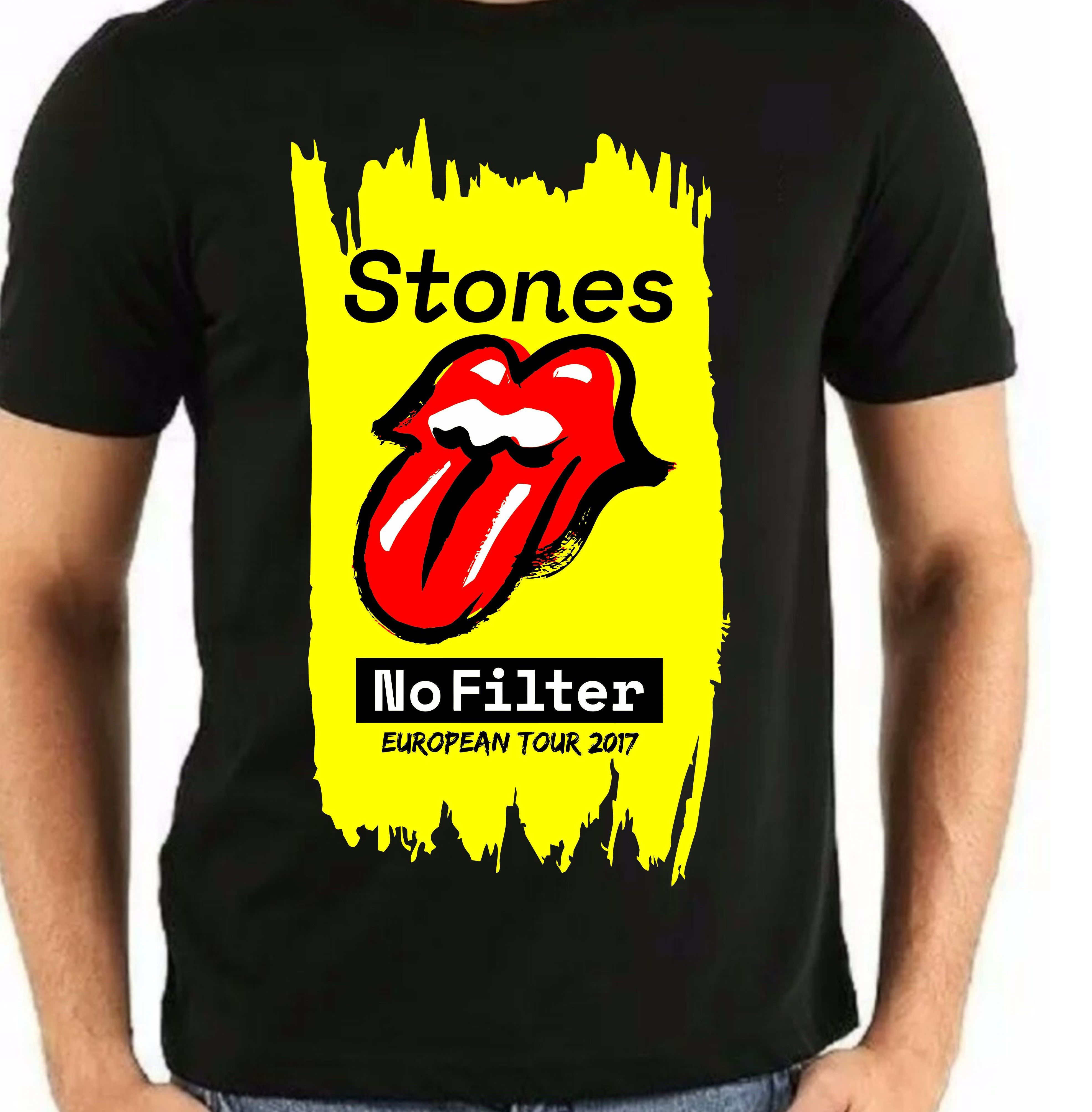 Yellow The Rolling Stones Ladies Tee No Filter Tongue