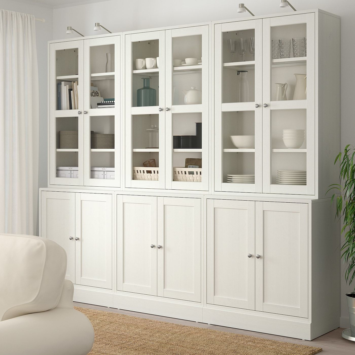 HAVSTA Storage combination wglass doors, white, 95 58x18 1