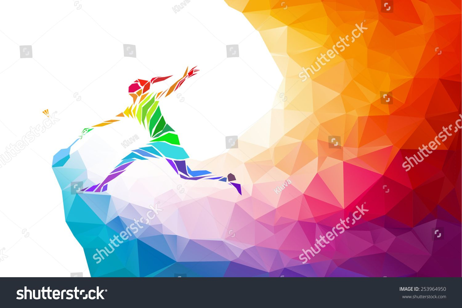 Badminton Sport Invitation Poster Or Flyer Background With Empty Space Banner Template Colorful Polygonal Triang Sports Invitations Badminton Badminton Sport