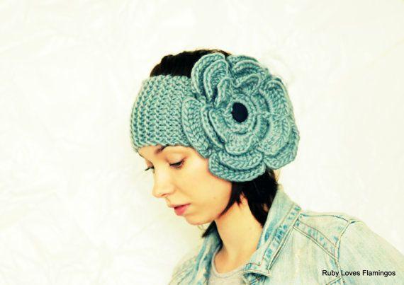 PDF Pattern - Smoke Blue - Grey Knitted Ear Warmer - Crochet Flower ...