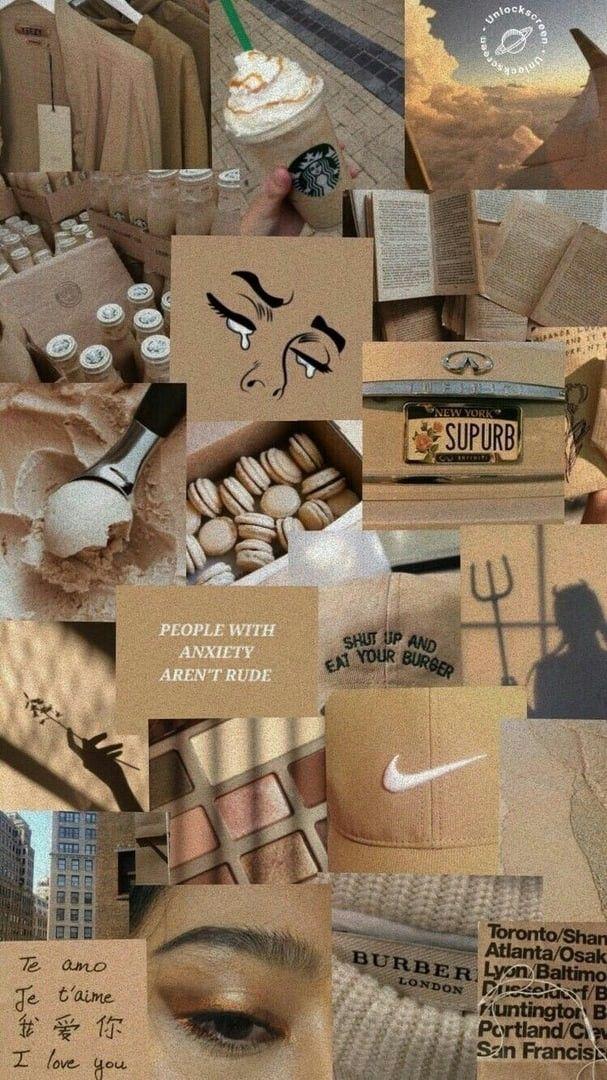 beige aesthetic wallpaper iphone collage in 2020