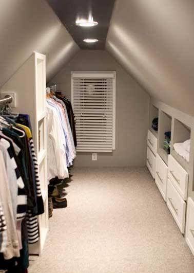 Aménager un dressing sous pente dans une grenier