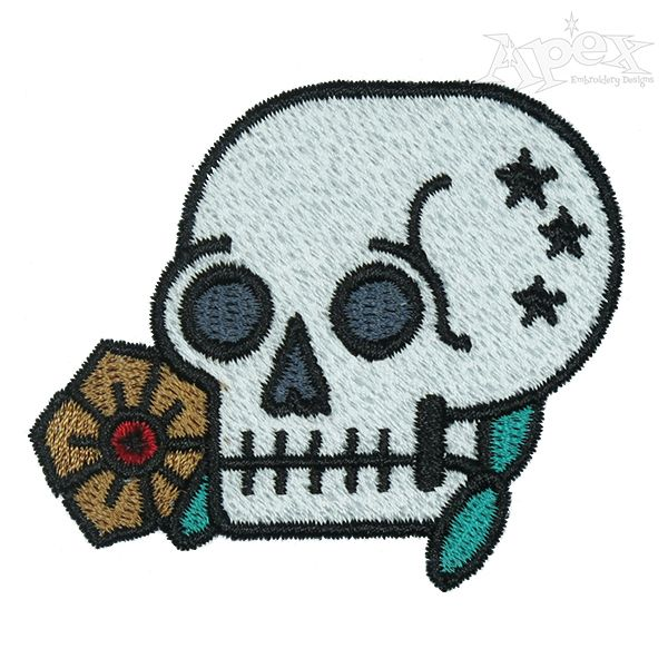 Memento Mori Skull Embroidery Design Halloween Embroidery Designs