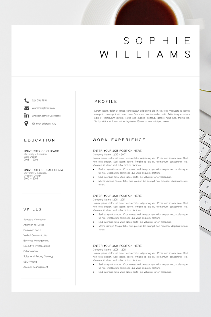 New Cv Template Resume Template Minimalist Professional Cv Design Resume Template Instant Download Word Executive Assistant Resume Professional Resume Examples Resume Layout Resume Examples
