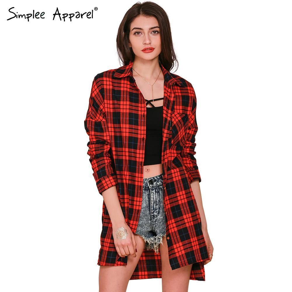 Simplee Apparel Red plaid long sleeve blouse Women tops Autumn Winter coat…