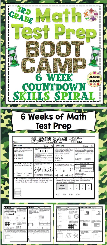 Math Test Prep Boot Camp (3rd Grade) 6 Week Countdown | Math test ...