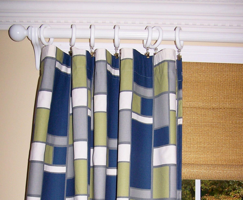 Blue geometric curtains - Blue Geometric Curtains Premier Felix By Cathyscustompillows 109 00