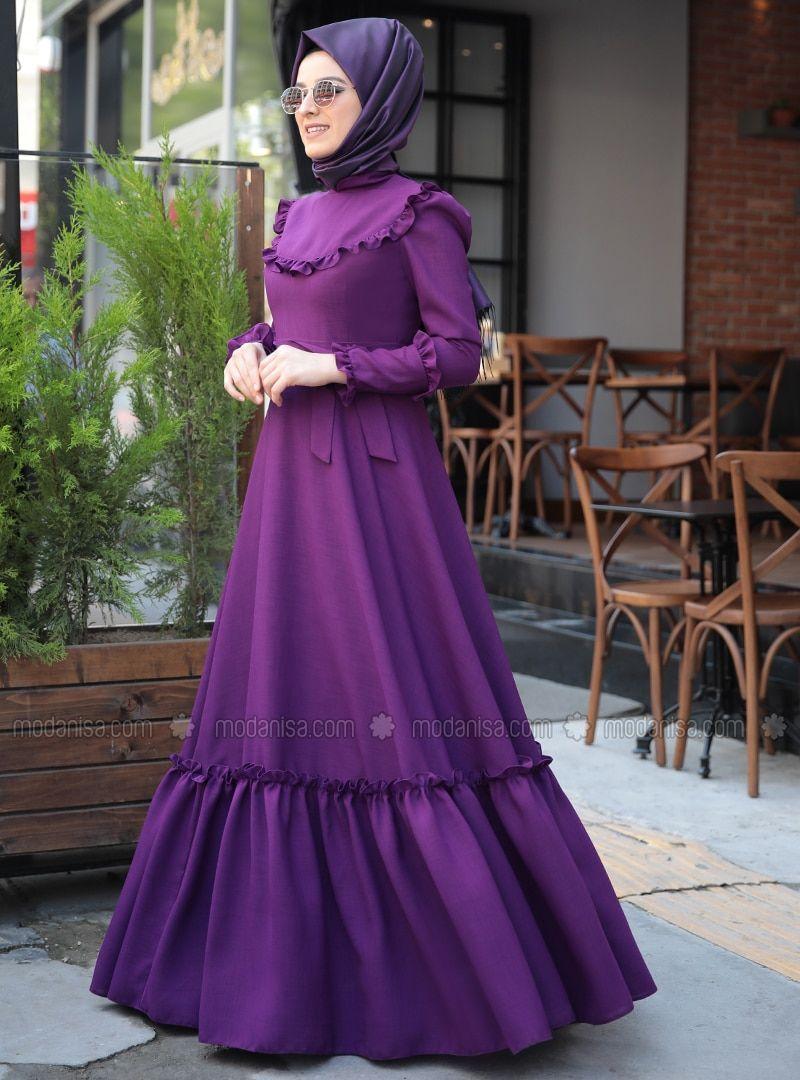 589ede298b630 Emma Fırfırlı Elbise - Mürdüm in 2019   Elbiseler   Elbiseler ...