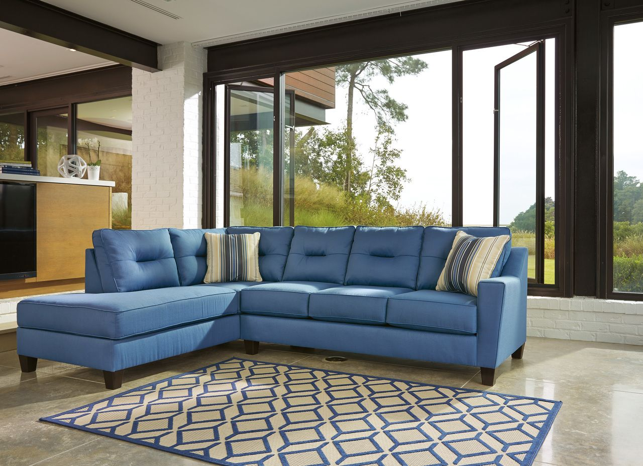 Kirwin Nuvella Blue Left Arm Facing Chaise End Sectional Ashley 9960316 9960367 Fabric Sectional Sofas Ashley Furniture Sectional Furniture