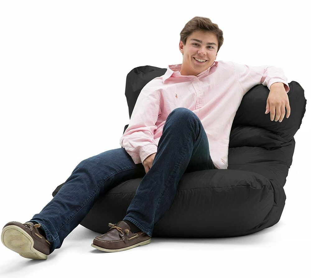 Awe Inspiring Black Bean Bag Chair Large Adult Chaise Lounge Dorm Fabric Caraccident5 Cool Chair Designs And Ideas Caraccident5Info