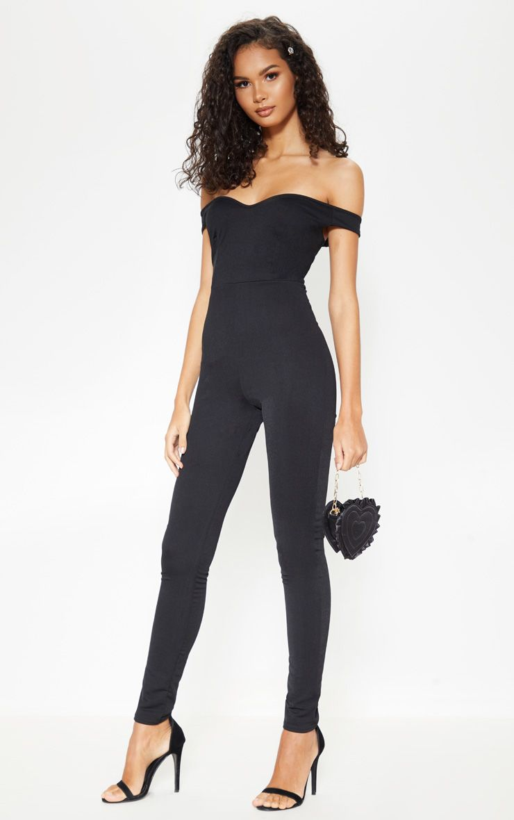 3952bc497bb perfect Sandy from Grease jumpsuit Black Bardot Jumpsuit