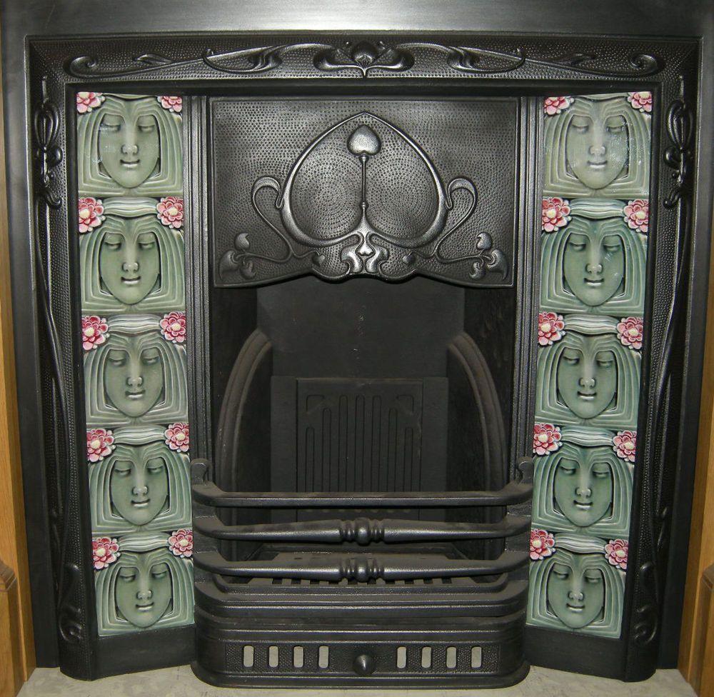 art nouveau fireplace tile set ref an125