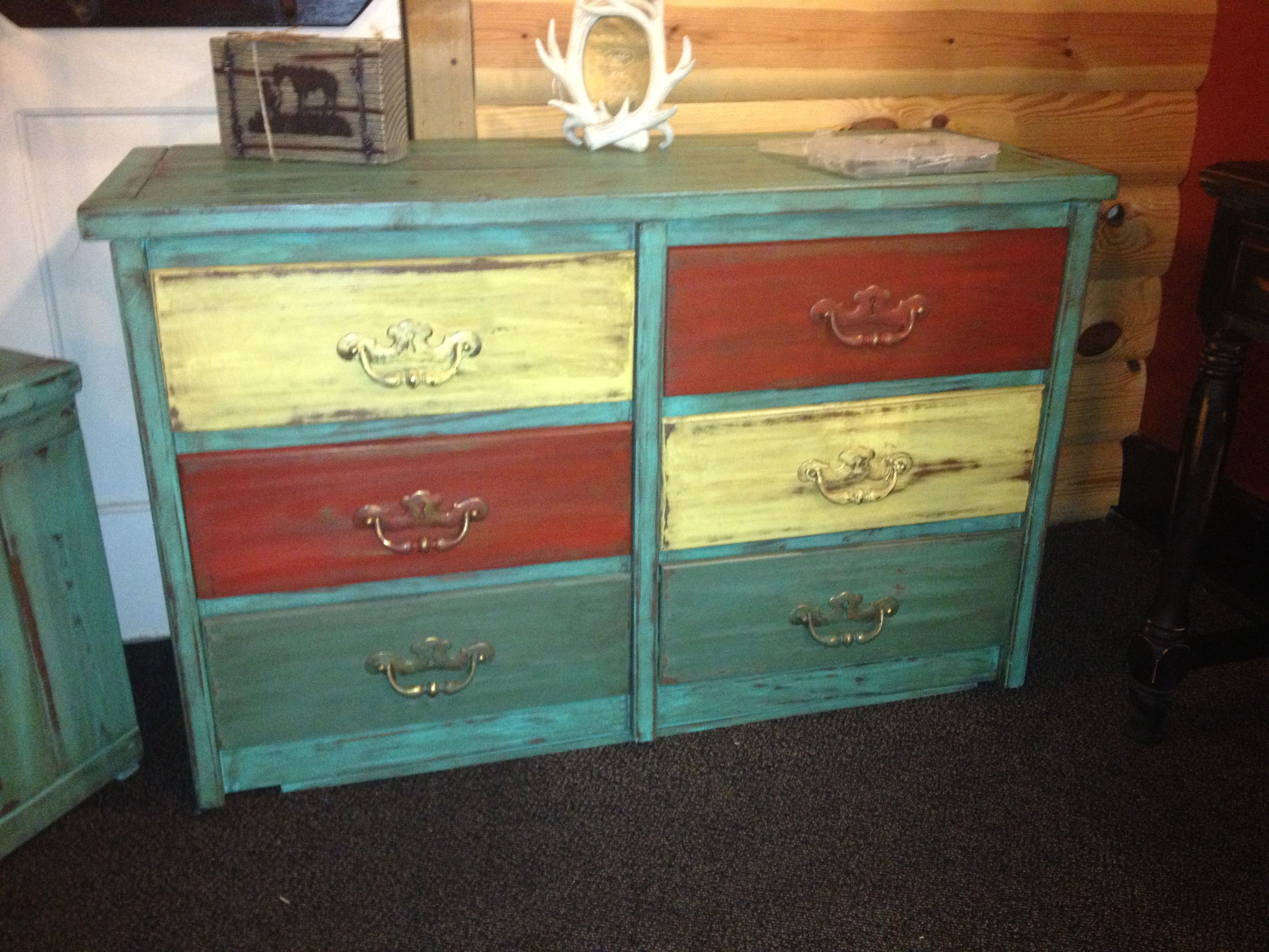 6 Drawer Dresser Beautifully Distressed Multi Colored