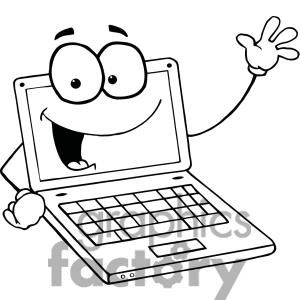 Laptop Cartoon Character Waving A Greeting Computer Sketch