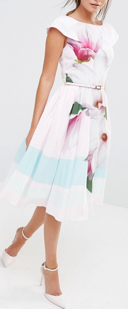 a58ca26d9db6f3 Ted Baker Bromlie Prom Dress in Pink Magnolia Print