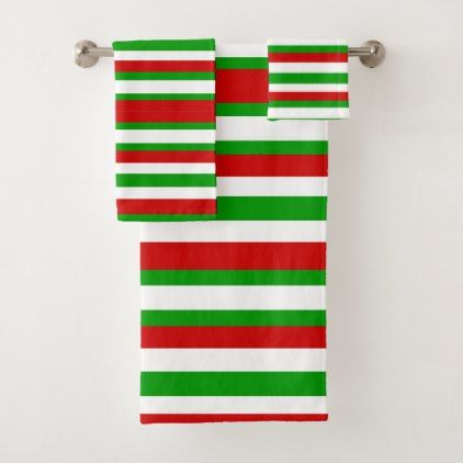 Red White And Green Stripes Bath Towel Set Zazzle Com With Images Striped Bath Towels Green Stripes Towel Set