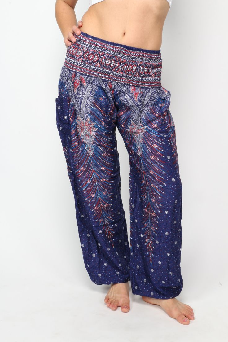 Magic blue peacock print harem pants, super-soft and handmade in Thailand by One Tribe Apparel.