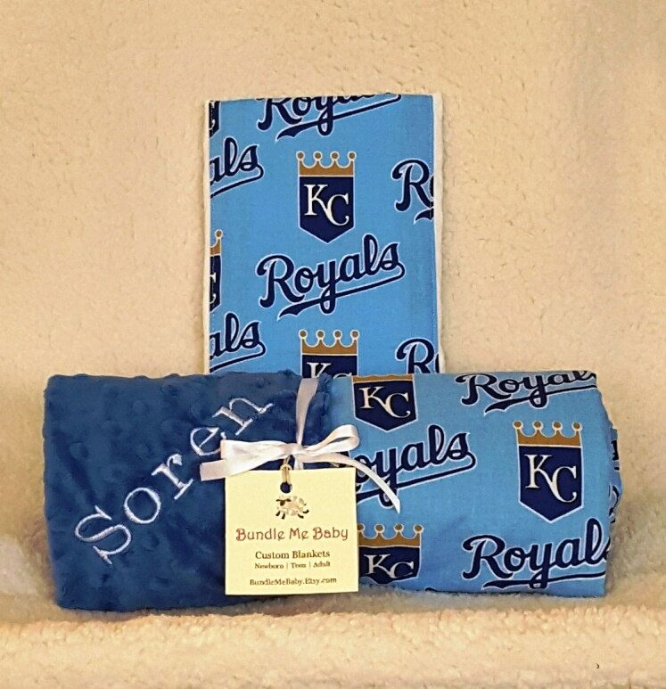 Kansas city royals baby blanket toddler minky name embroidered gift baby blanket toddler kc royals minky name embroidered gift set large minky personalized baby boy girl negle Image collections