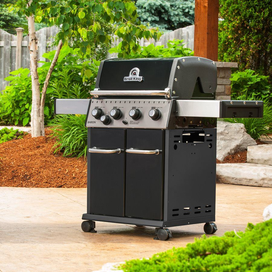 Broil King Baron 440 4 Burner 40 000 Btu Natural Gas Grill With Side Burner Gas And Charcoal Grill Gas Grill Natural Gas Grill