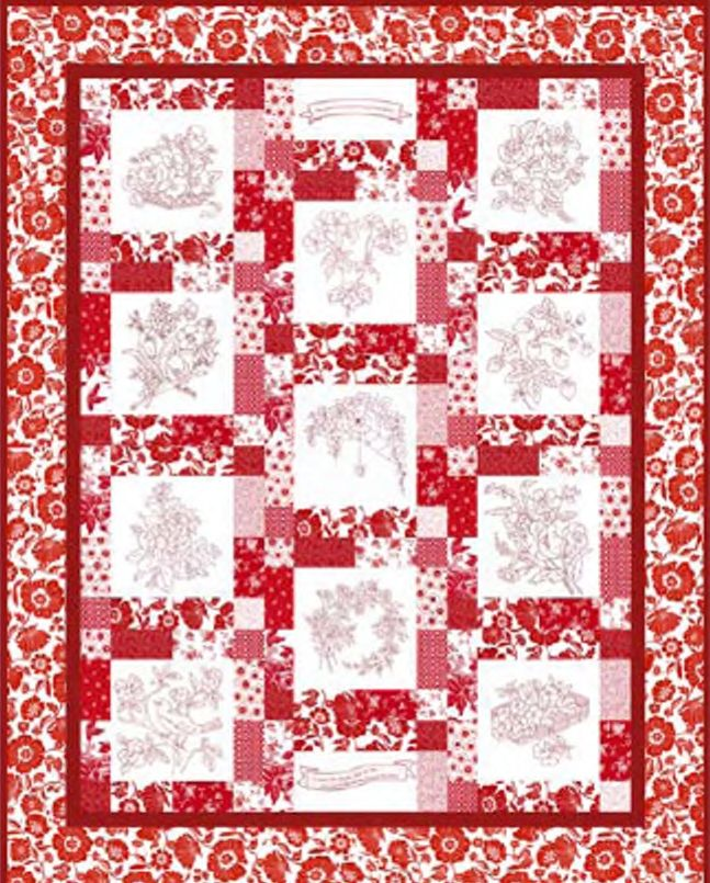 Download the pattern for RJR Fabrics Redwork Garden quilt ... : christmas quilting patterns free - Adamdwight.com